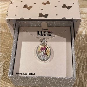 Minnie Mouse necklace.   Silver plated.  New!